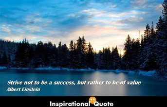 Albert Einstein – Strive not to be a success, but rather to be of value.
