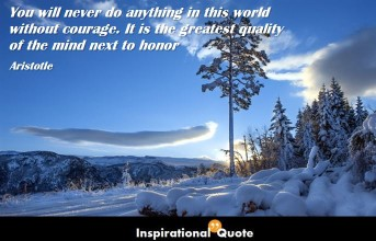 Aristotle – You will never do anything in this world without courage. It is the greatest quality of the mind next to honor