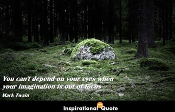 Mark Twain -You can't depend on your eyes when your imagination is out of focus
