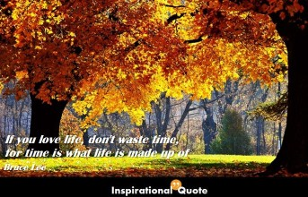 Bruce Lee – If you love life, don't waste time, for time is what life is made up of